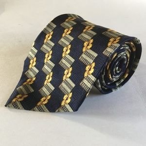 1980s Floral and Square Pattern Wide All Silk Tie